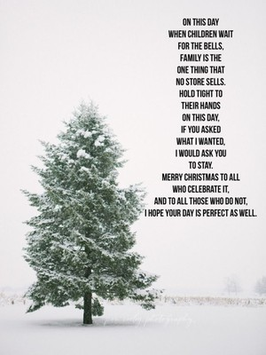 On this Day when children wait for the bells, family is the one thing that no store sells. Hold tight to their hands on this Day, if you asked what I wanted, I would ask you to stay. Merry Christmas to all who celebrate it, and to all those who do not, I hope your day is perfect as well.