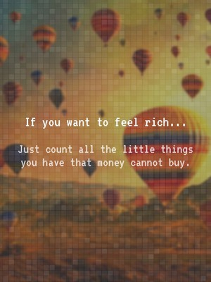 If you want to feel rich... Just count all the little things you have that money cannot buy.