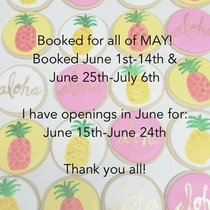 Booked for all of MAY! Booked June 1st-14th & June 25th-July 6th I have openings in June for: June 15th-June 24th Thank you all!