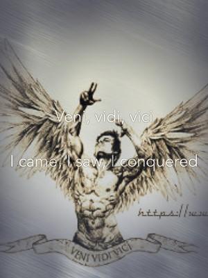 Veni, vidi, vici I came, I saw, I conquered