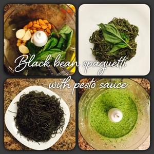 Black bean spaguetti with pesto sauce