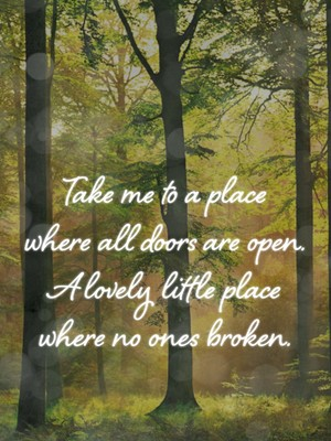 Take me to a place where all doors are open. A lovely little place where no ones broken.