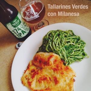 Tallarines Verdes con Milanesa